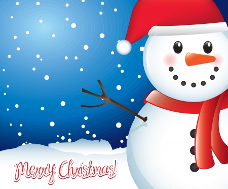christmas snow: Merry christmas card with snowman and snow