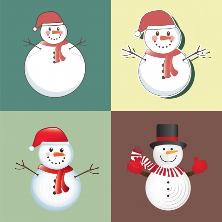 christmas card with different snowmen  Vector