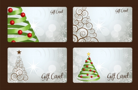 Christmas gift cards with Christmas tree Stock Vector - 15667245