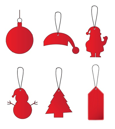 set of decorative Christmas elements for tree Tags christmas Vector