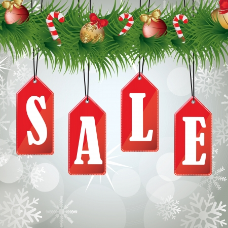 Christmas sales background with a wreath hanging labels Vector