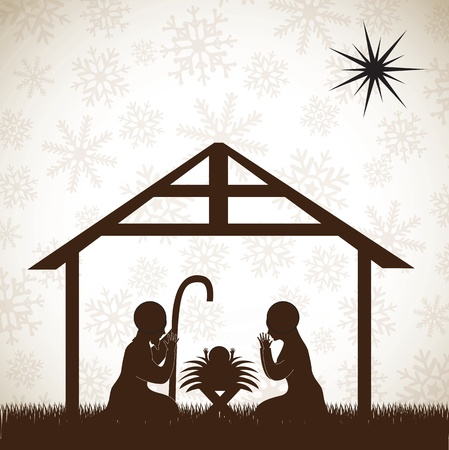 beautiful crib brown, Christmas image over white background Vector