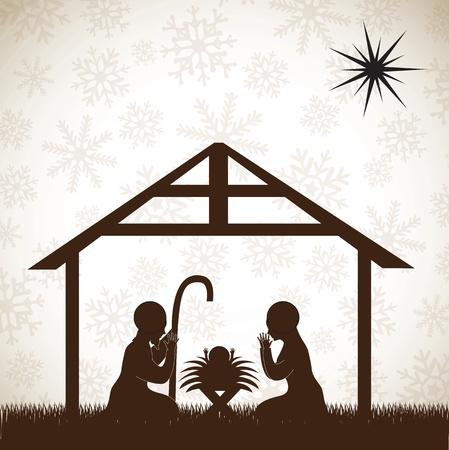 belle crèche brun, image de Noël sur fond blanc