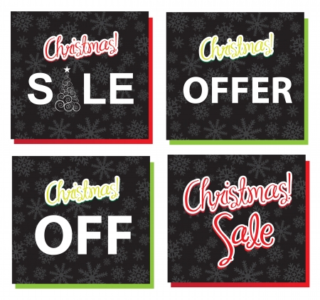 different labels of Christmas sales and offer  Vector