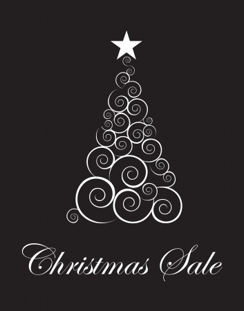winter season: Christmas tree sales season touting over black background