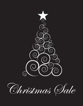 winter season: Christmas tree sales season touting over black background