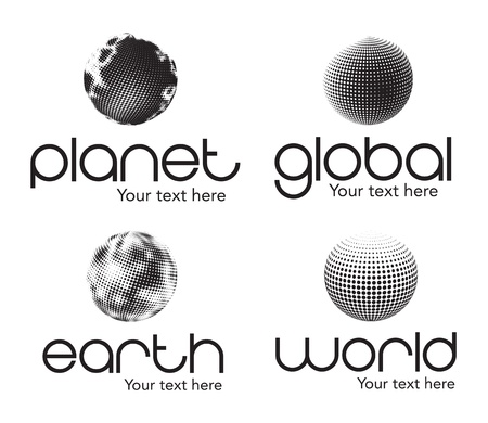 Planet, earth, world and global icons  over white background Stock Vector - 15667141