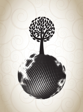 ecological symbol with a tree on the world Vector