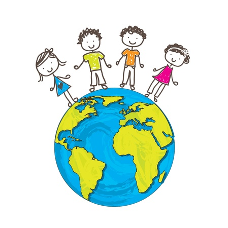 earth cartoon: children about the world as a sign of union and protection