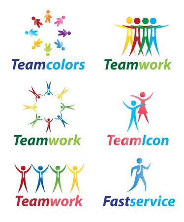 people isolated: Teamwork icons with people in signal of unity  Illustration