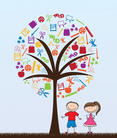 classroom supplies: pair of children with school supplies tree