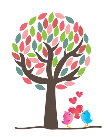 Tarjeta del amor con dos pájaros del amor sobre fondo blanco Ilustración de vector