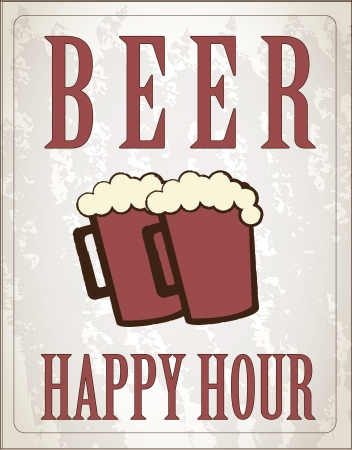 poster happy hour with two beers  Vector