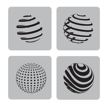different ways: sphere in different ways over gray background  Illustration