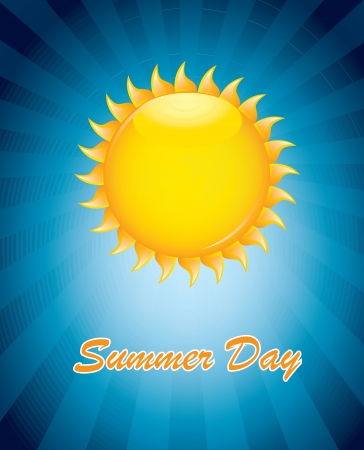 Big sun in signal of summer over  blue background