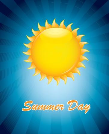 hot temperature: Gran sol en se�al de verano sobre fondo azul