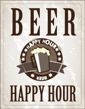 poster happy hour with one beer  Vector