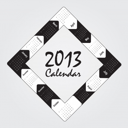 black and white 2013 calendar over white background Vector