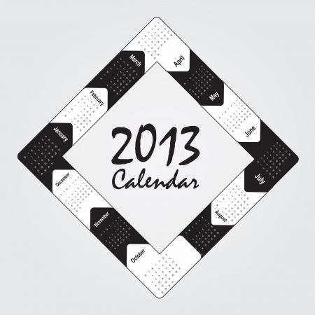 black and white 2013 calendar over white background Stock Vector - 15667034
