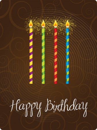 Happy birthday card with candle  over brown background  Stock Vector - 15667007