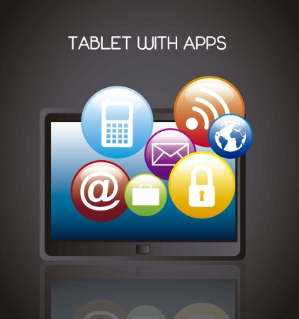 tablet with apps over black background.  Vector