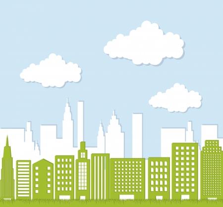 verdant: green buildigns over sky, ecology city.  Illustration
