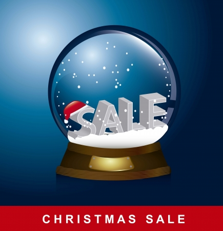 christmas globe over snow, christmas sale.  Vector