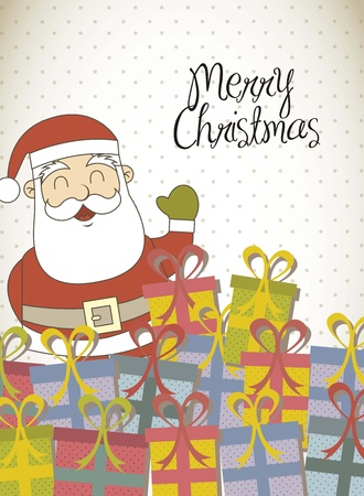 merry christmas card with santa claus and gift. Stock Vector - 15668213
