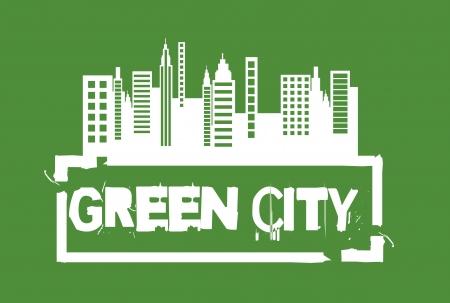 garden city: blanco verde sello de la ciudad sobre fondo verde.