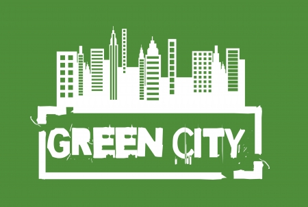 clean sky: white green city seal over green background.