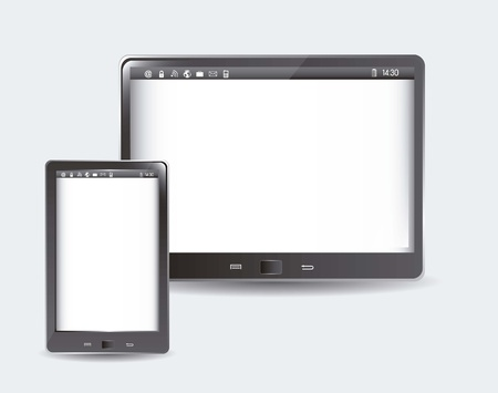 tablet computer and phone over gray background. v Stock Vector - 15668011