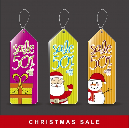 colorful christmas tags over gray background Stock Vector - 15668133