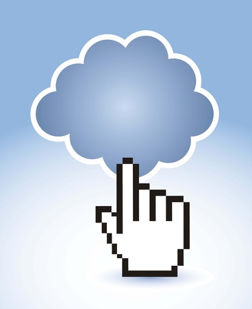 cloud computing with cursor hand. Vector