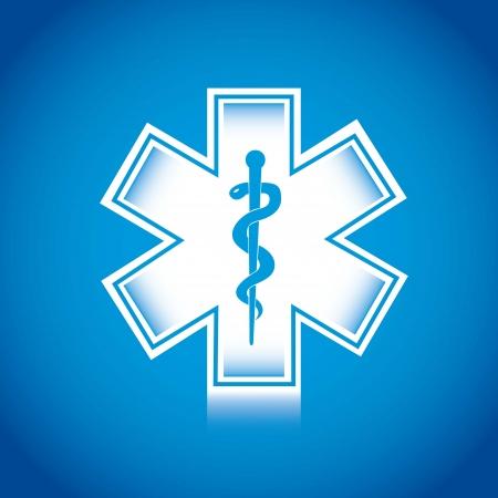 medical sign: white medical sign over blue background, caduceos. Illustration