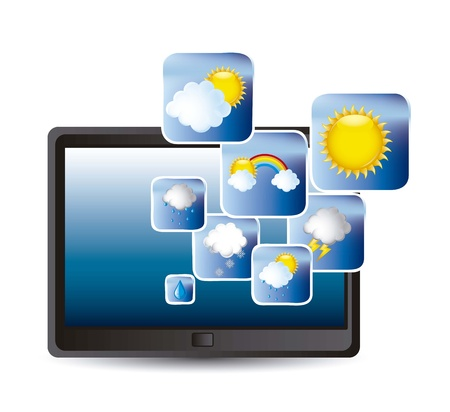tablet with weather icons over white background.  Stock Vector - 15668145