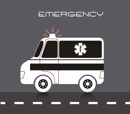 ambulance cartoon over street, emergency.  Vector