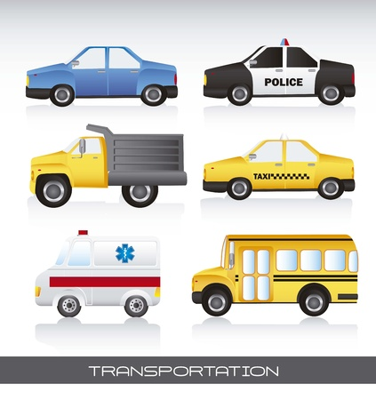 various cars with shadow, background.  Vector