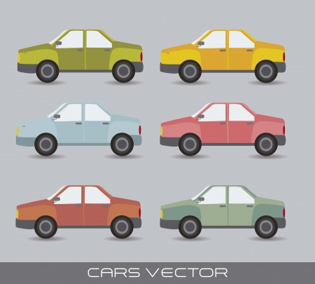 cute cars over gray background, vintage style Vector