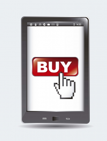 buy button over tablet computer with cursor. Stock Vector - 15668014
