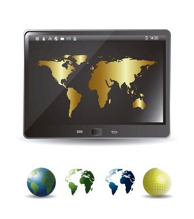 tablet computer with gold map and icons earths.  Vector
