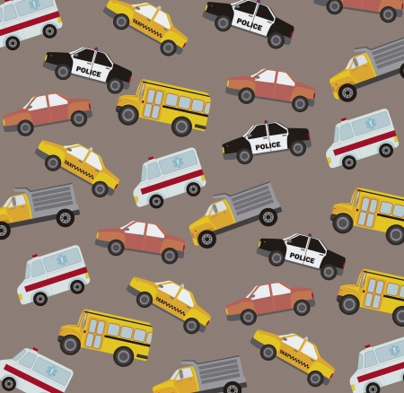cute cars pattern, vintage style.  Vector