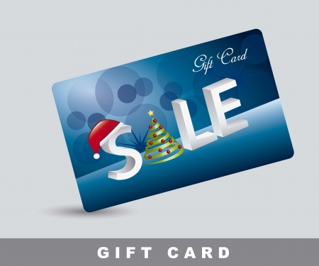 blue gift card with christmas tree and hat. Vector