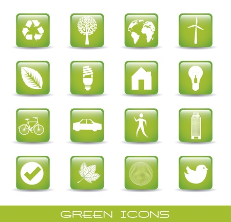green icons over white background. Stock Vector - 15668006