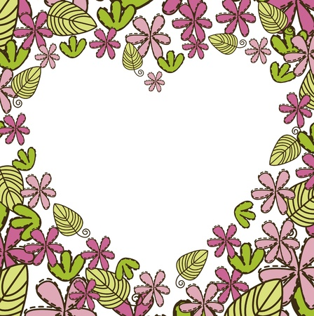 cute flowers with blank heart.  Vector