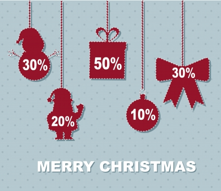 merry Christmas announcement holding discount.  Vector