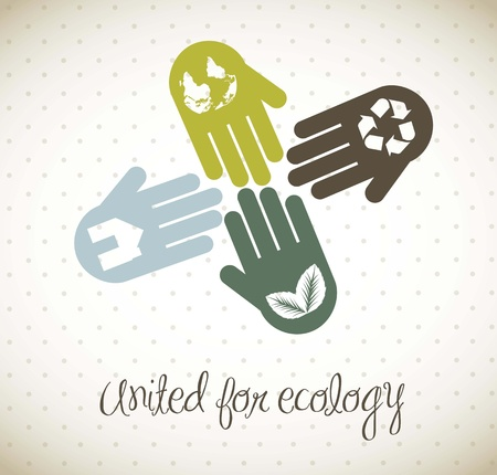 team working together: hands vintage concept, united for ecology.  Illustration