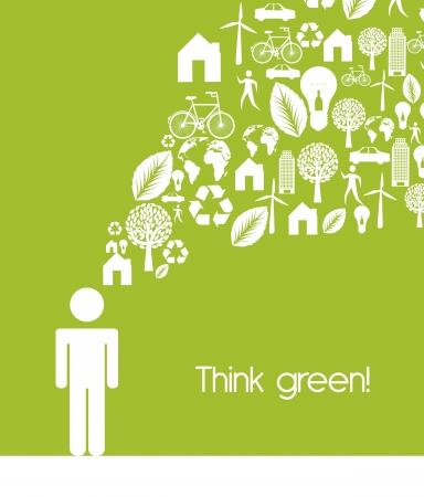 Hombres Regístrate iconos con la ecología, pensar en verde. Ilustración de vector