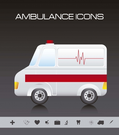 cross street with care: ambulance cartoon with silhouette icons. Illustration