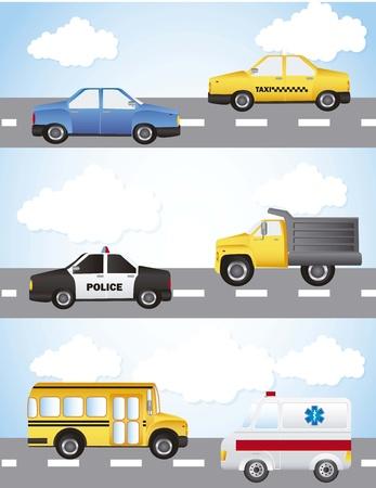 cars over street and sky background. Vektorové ilustrace