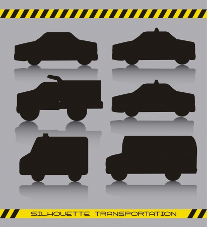 black silhoette cars over gray background. Vector
